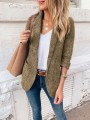 Khaki Patchwork Pockets Turndown Collar Long Sleeve Fashion Suit