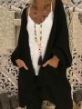 Black Pockets Loose Lantern Sleeve Going out Casual Cardigan Sweater
