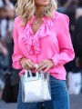 Pink Buttons Ruffle Collar Long Sleeve Elegant Blouses