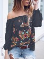 Grey Gypsy Floral Embroidery Print Off Shoulder Long Sleeve Mexico Fashion Blouse