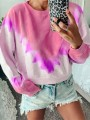 Red Tie Dye Bodycon Comfy Gradient Color Round Neck Going out Sweatshirt