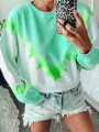Green Tie Dye Bodycon Comfy Gradient Color Round Neck Going out Sweatshirt
