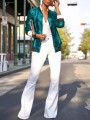 Green Patchwork Sequin Zipper Long Sleeve NYE Sparkly Party Coat