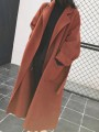 Brown Patchwork Belt Oversize Long Sleeve Turndown Collar Fashion Coat