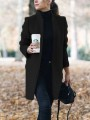 Black Patchwork Buttons Pockets Full Figured Formal Band Collar Fashion Outerwear