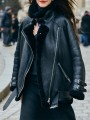 Black Patchwork Leather Turndown Collar Long Sleeve Modern Leather Coat