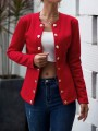 Red Double Breasted Long Sleeve Elegant Blazer Coat