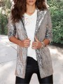 Silver Patchwork Sequin Tailored Collar Long Sleeve Glitter Sparkly Birthday Party Blazer Outerwear