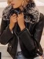 Black Pockets Zipper Fur Collar Long Sleeve Fashion PU Leather Coat