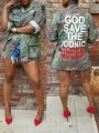 """Green Camouflage """"GOD SAVE THE ICONIC QUEEN"""" Print Pockets Buttons Long Sleeve Coat Outerwear"""