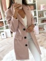 Pink Pockets Buttons Turndown Collar Long Sleeve Elegant Wool Coat
