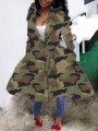 Green Camouflage Print Lace-up Hooded Long Sleeve Duster Coat Outerwear