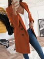 Brown Double Breasted Pockets Turndown Collar Long Sleeve Wool Coat