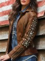 Brown Patchwork Zipper Beaded Turndown Collar Long Sleeve Fashion Outerwear