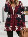 Burgundy Geometric Print Pockets V-neck Long Sleeve Oversize Cardigan Sweater