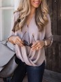 Pink Patchwork Single Breasted Long Sleeve V-neck Fashion Pullover Sweater