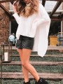 White High Neck Dolman Sleeve High-low Slit Oversize Pullover Sweater