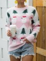 Pink Snowman Floral Round Neck Long Sleeve Christmas Pullover Sweater