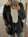 Black Pockets Single Breasted Fuzzy Long Sleeve Casual Cardigan Sweater