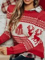 Red-White Geometric Pattern Round Neck Ugly Christmas Party Pullover Sweater
