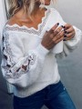 White Patchwork Lace V-neck Long Sleeve Elegant Pullover Sweater