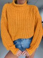 Yellow Patchwork Irregular High Neck Long Sleeve Fashion Pullover Sweater