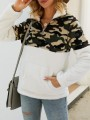 White Patchwork Camouflage Pattern Pockets Teddy Fuzzy Band Collar Pullover Sweater