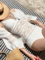 White Patchwork Lace Backless Deep V-neck Fashion One-Piece Swimwear