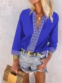Blue Floral Appliques Bodycon Chiffon 3/6 Sleeve Going out T-Shirt