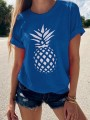 Blue Pineapple Flowers Print Round Neck Short Sleeve Going out T-Shirt