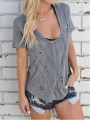 Grey Cut Out Going out Comfy Fashion Round Neck T-Shirt