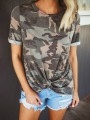 Green Camouflage Print Round Neck Short Sleeve Cross Casual T-Shirt