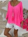 Rose Carmine Round Neck Long Sleeve Bodycon Going out T-Shirt