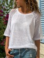 White Patchwork Lace Bodycon Comfy 3/4 Sleeve Going out T-Shirt