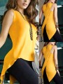 Yellow Slit Cut Out Irregular Bodycon Comfy Fashion Vest