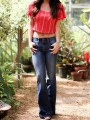 Blue Pockets Buttons Low-rise Fashion Going out Long Flare Jeans