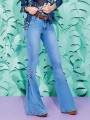 Dark Blue Pockets Buttons Lace-up Mid-rise Fashion Going out Long Flare Jeans