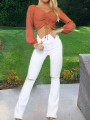 White Pockets Ripped Destroyed Flare Bell Bottom High Waisted Casual Long Jeans Pants