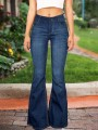 Blue Buttons Pockets High Waisted Flare Bell Bottom Bootcut Long Jeans
