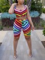 Red Rainbow Striped Two Piece Bodycon Casual Short Jumpsuit