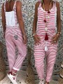 Red-White Striped Pockets Drawstring Knot Square Neck Fashion Overall Pants