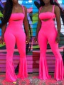 Rose Carmine Off Shoulder Two Piece Bodycon Party Bell Bottomed Flares Long Jumpsuit