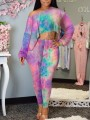 Pink Colorful Irregular Tie Dye One-Shoulder Two Piece Jamaica Rasta Casual Long Jumpsuit
