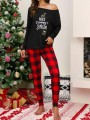 Black-Red Here Comes Santa Print Irregular One-shoulder Two Piece Christmas Sleepwear Long Jumpsuit