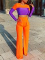 Neon Orange Patchwork Draped Pockets High Waisted Two Piece Flare Bell Bottom Long Jumpsuit