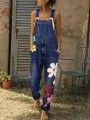 Blue Flowers Print Pockets High Waisted Overall Pants Long Jumpsuit