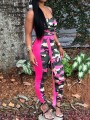 Pink Patchwork Camouflage Belt Shoulder-Strap Round Neck Bodysuit Casual Jumpsuits