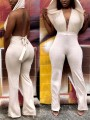 White Belt Lace-up Hooded Backless Deep V-neck Sleeveless Flare Bell Bottom Sports Long Jumpsuit