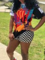 """Black """"HUSSLE"""" Print Round Neck Short Sleeve 2-in-1 High Waisted Plaid Sports Caaual Short Jumpsuit"""