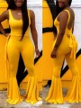 Yellow Shoulder-Strap Belt Lace-up Backless U-neck Sleeveless Big Flared Romper Flare Bell Bottom Long Cute Jumpsuit